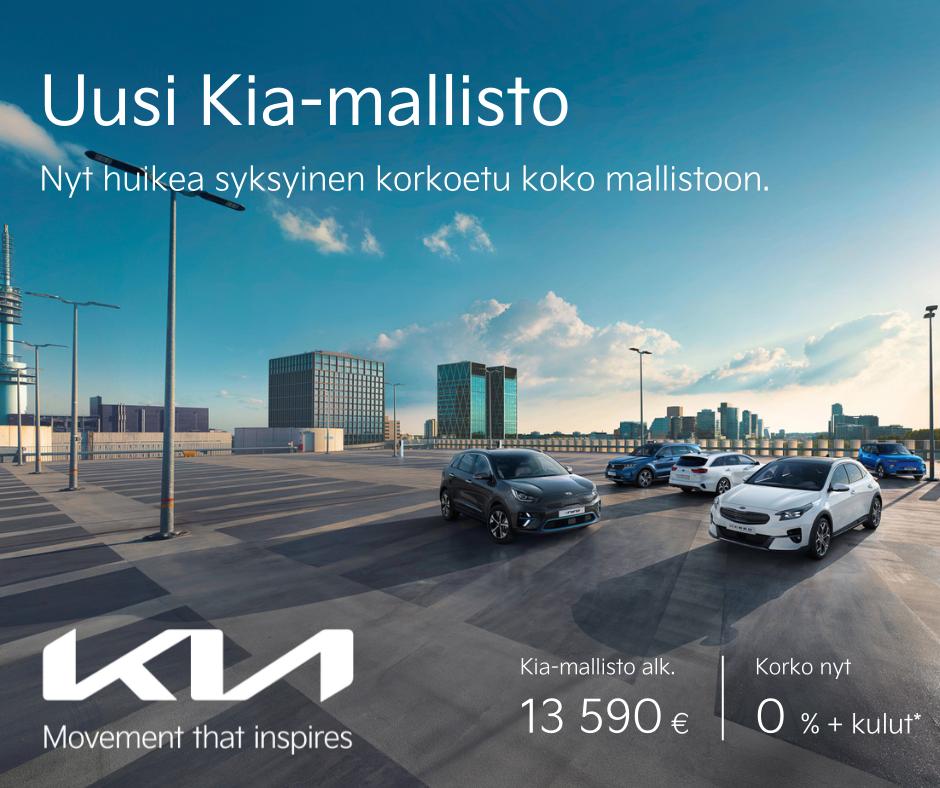 Koko Kia-mallistoon edullinen 0% korkotarjous. Kampanja. Etu. Alennus.